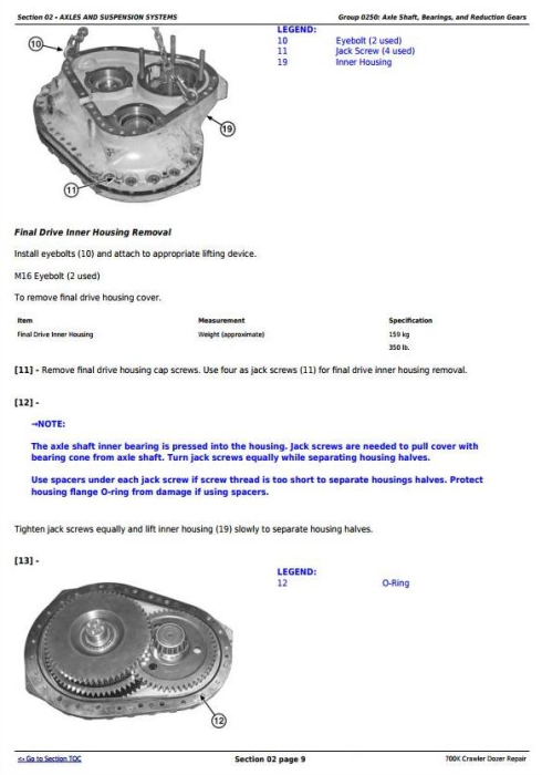 Second Additional product image for - John Deere 700K Crawler Dozer (S.N. from 275598) Service Repair Technical Manual (TM13359X19)