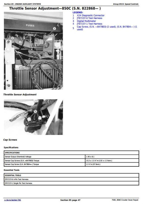Fourth Additional product image for - John Deere 750C, 850C Crawler Dozer Service Repair Technical Manual (tm1589)
