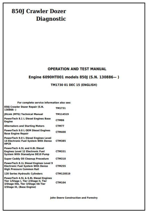 First Additional product image for - John Deere 850J Crawler Dozer (SN. from 130886) Diagnostic, Operation & Test Service Manual (TM1730)