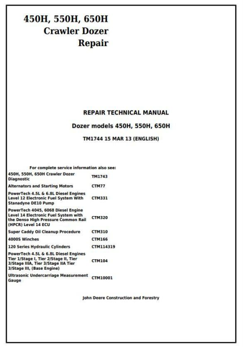 First Additional product image for - John Deere 450H, 550H, 650H Crawler Dozer Service Repair Technical Workshop Manual (TM1744)