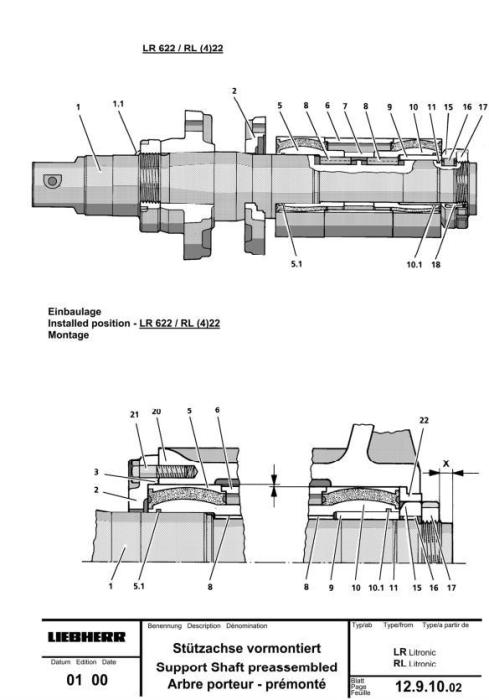 John Deere Liebherr Models 622, 632; 655C, 755C Crawler