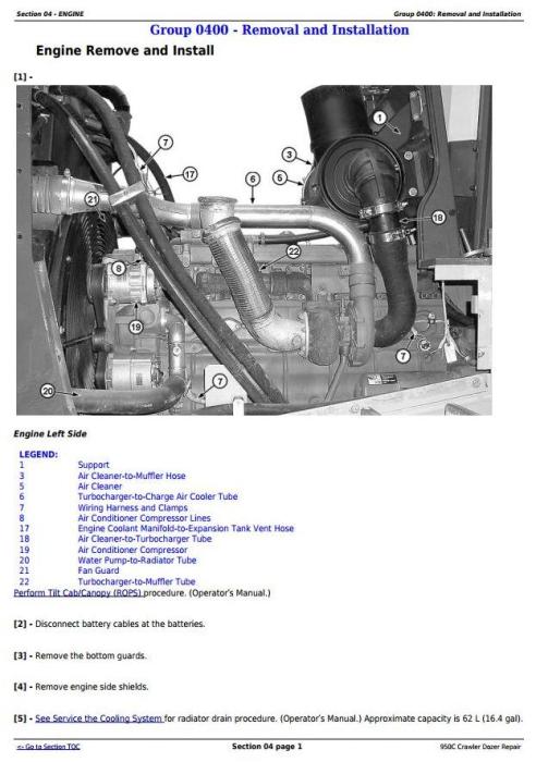 Second Additional product image for - John Deere 950C Crawler Dozer Service Repair Technical Manual (tm2247)