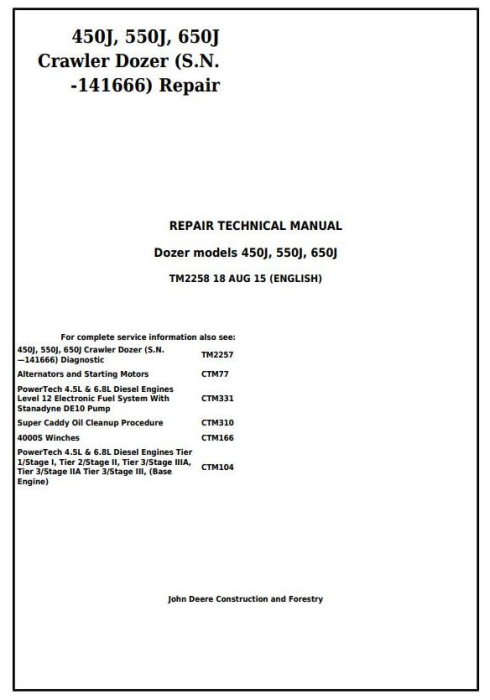 First Additional product image for - John Deere 450J, 550J, 650J Crawler Dozer (S.N.before 141666) Service RepairTechnical Manual (TM2258)