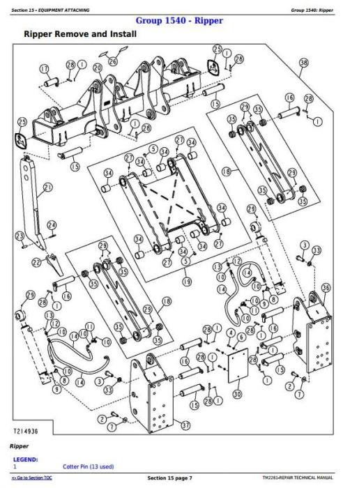 Third Additional product image for - John Deere 750J (S.N. -141343) , 850J (S.N.-130885) Crawler Dozer Service Repair Manual (TM2261)