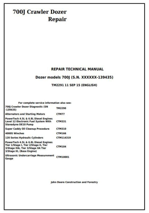 First Additional product image for - John Deere 700J Crawler Dozer (S.N. before 139435) Service Repair Technical Manual (TM2291)