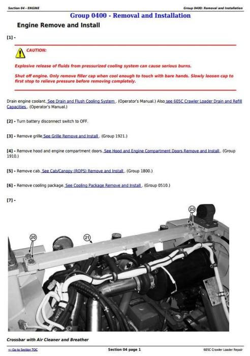 Third Additional product image for - John Deere 605C Crawler Loader Service Repair Technical Manual (TM2354)