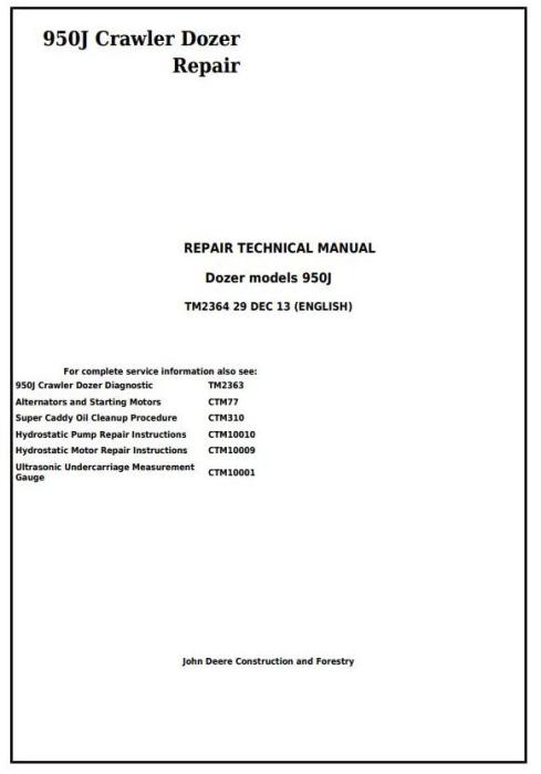 First Additional product image for - John Deere 950J Crawler Dozer Service Repair Technical Manual (TM2364)