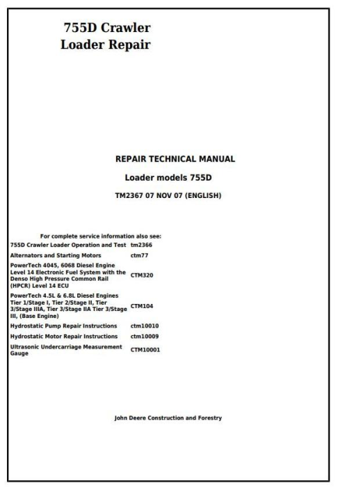 First Additional product image for - John Deere 755D Crawler Loader Service Repair Technical Manual (tm2367)