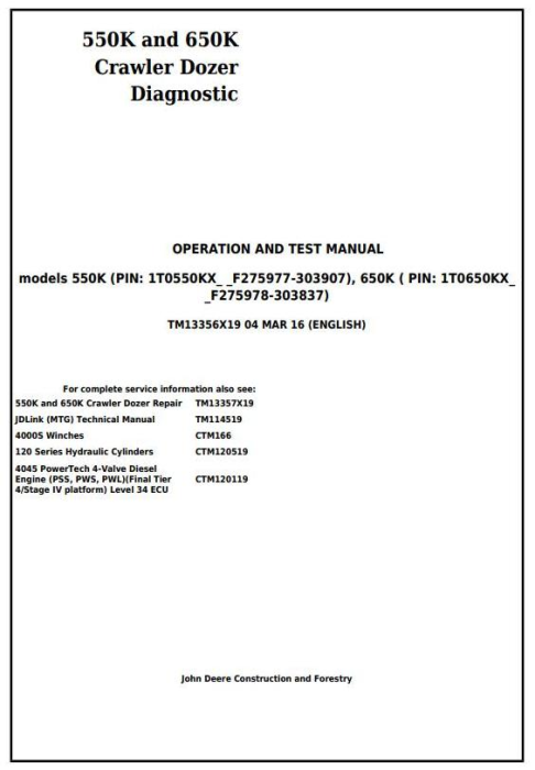 First Additional product image for - John Deere 550K, 650K Crawler Dozer (S.N.from 275977) Diagnostic and Test Service Manual (TM13356X19)