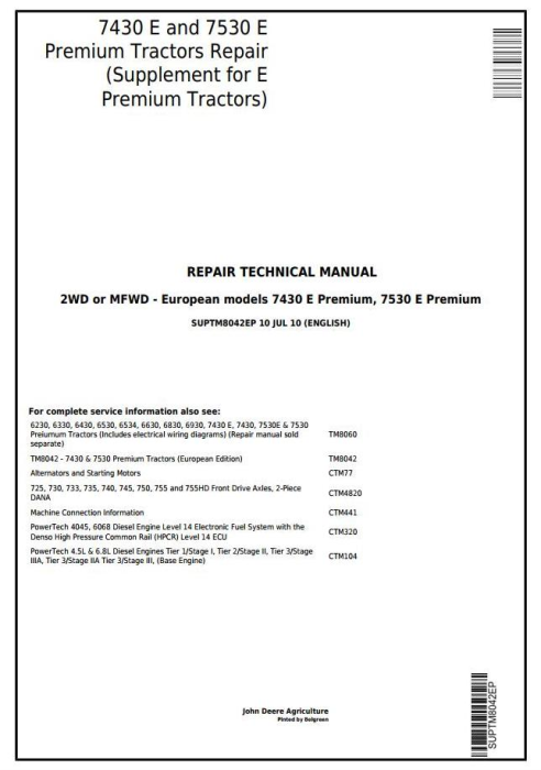 First Additional product image for - Tractors 7430 E and 7530 E Premium (European) Supplement for Repair Technical Manual (SUPTM8042EP)