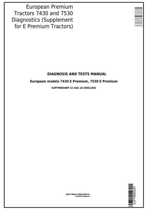 First Additional product image for - John Deere European Premium Tractors 7430, 7530 Supplement for Diagnostic Manual (SUPTM8060EP)