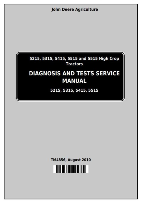 First Additional product image for - John Deere Tractors 5215, 5315, 5415, 5515 All Inclusive Diagnostic and Repair Service Manual (TM4856)