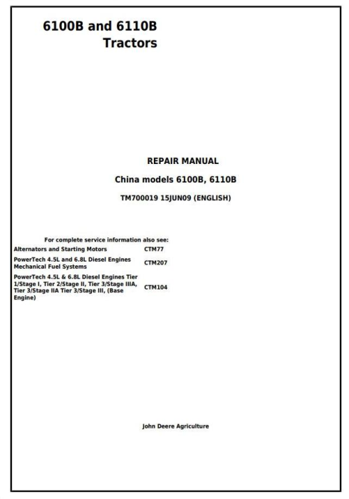 First Additional product image for - John Deere 6100B and 6110B 2WD or MFWD - China Tractors Service Repair Manual (TM700019)