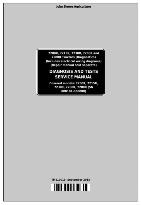 First Additional product image for - John Deere 7200R, 7215R, 7230R, 7260R, 7280R Tractors Diagnosis and Tests Service Manual (TM110019)