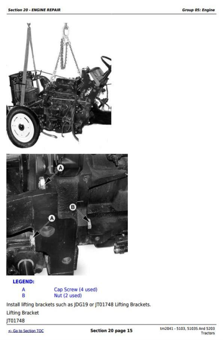 Third Additional product image for - John Deere Tractors 5103, 5103S And 5203 Service All Inclusive Technical Manual (TM2041)