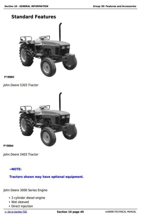Third Additional product image for - John Deere 5303 and 5403 India Tractors Diagnostic and Repair All Inclusive Technical Manual (tm8088)