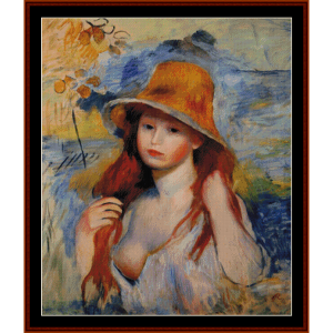 Young Woman in Straw Hat - Renoir cross stitch pattern by Cross Stitch Collectibles | Crafting | Cross-Stitch | Other