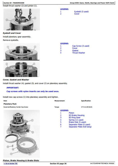 Second Additional product image for - John Deere 862B Series II Scraper (SN. 818323-) Service Repair Technical  Manual (tm1725)