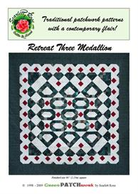 retreat three medallion pieced quilt pattern