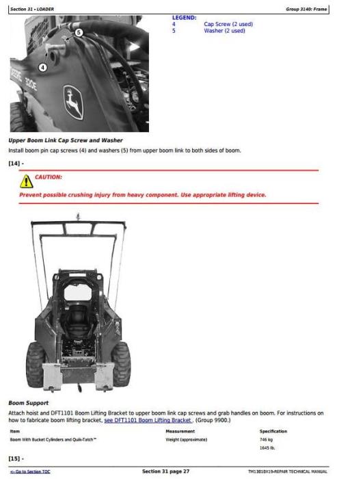 Third Additional product image for - John Deere 318E 319E 320E 323E Skid Steer & Compact Track Loader (Man.Ctrl) Repair Manual TM13010X19