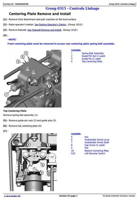 Fourth Additional product image for - John Deere 318E 319E 320E 323E Skid Steer & Compact Track Loader (Man.Ctrl) Repair Manual TM13010X19