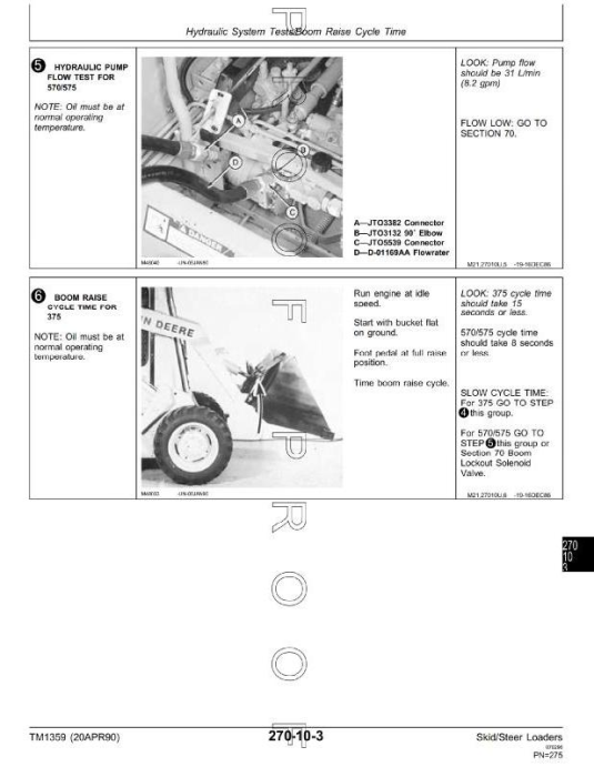 Third Additional product image for - John Deere Skid Steer Loader Type 375, 570, 575 Diagnostic and Repair Technical Service Manual