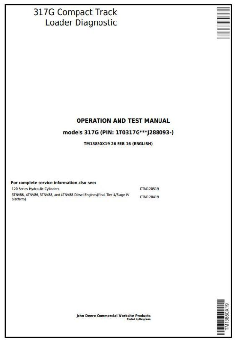 First Additional product image for - John Deere 317G Compact Track Loader Diagnostic & Test Service Manual (TM13850X19)