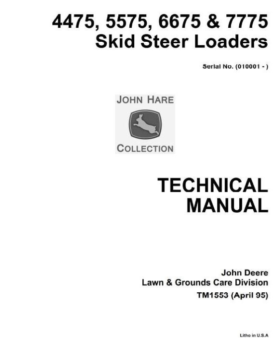 First Additional product image for - John Deere 4475, 5575, 6675, 7775 Skid Steer Loader All Inclusive Technical Service Manual (TM1553)