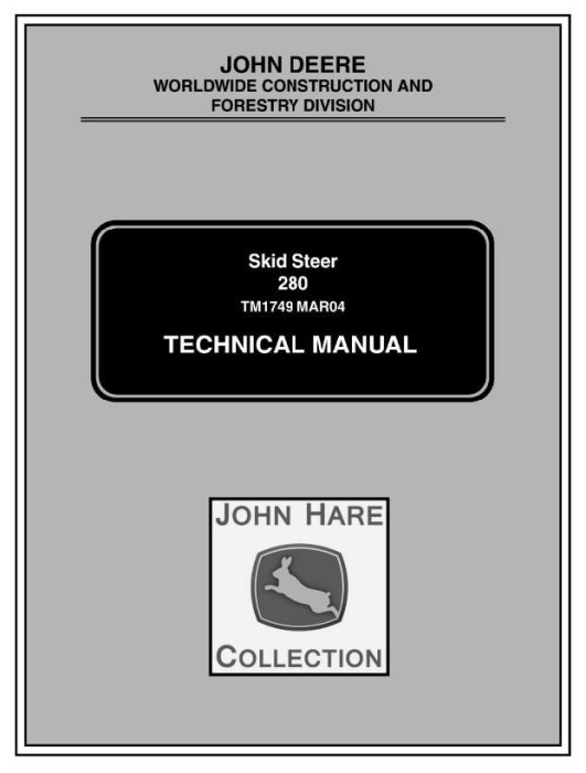 First Additional product image for - John Deere Skid Steer Loader Type 280 Diagnostic and Repair Technical Service Manual (TM1749)
