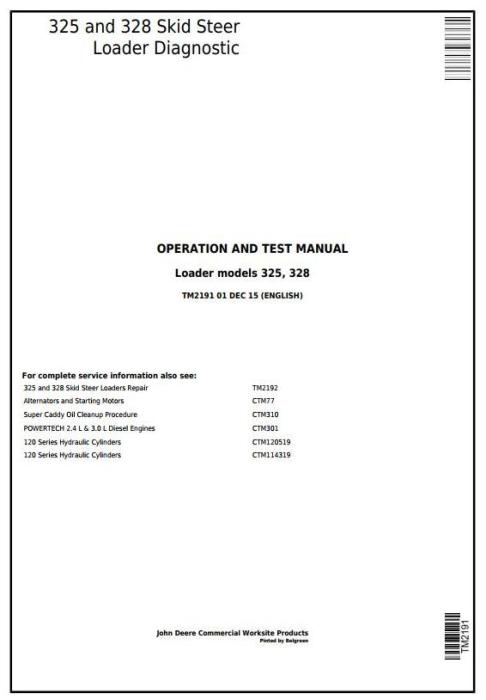 First Additional product image for - John Deere 325, 328 Skid Steer Loader Diagnostic, Operation and Test Service Manual (TM2191)