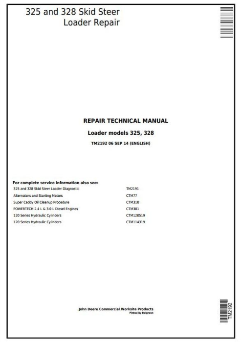 First Additional product image for - John Deere 325 and 328  Skid Steer Loader Service Repair Technical Manual (TM2192)