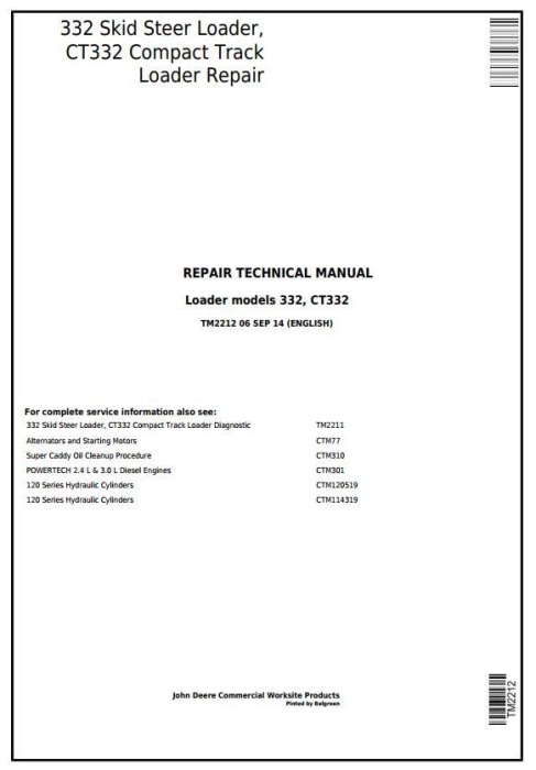 First Additional product image for - John Deere 332 Skid Steer Loader, CT332 Compact Track Loader Service Repair Technical Manual TM2212