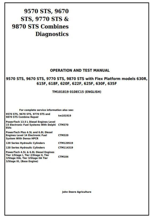 First Additional product image for - John Deere 9570STS, 9670STS, 9770STS, 9870STS Combines Diagnostic and Test Service Manual (TM101819)