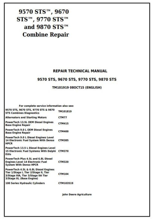 First Additional product image for - John Deere 9570 STS, 9670 STS, 9770 STS and 9870 STS Combines Service Repair Manual (TM101919)