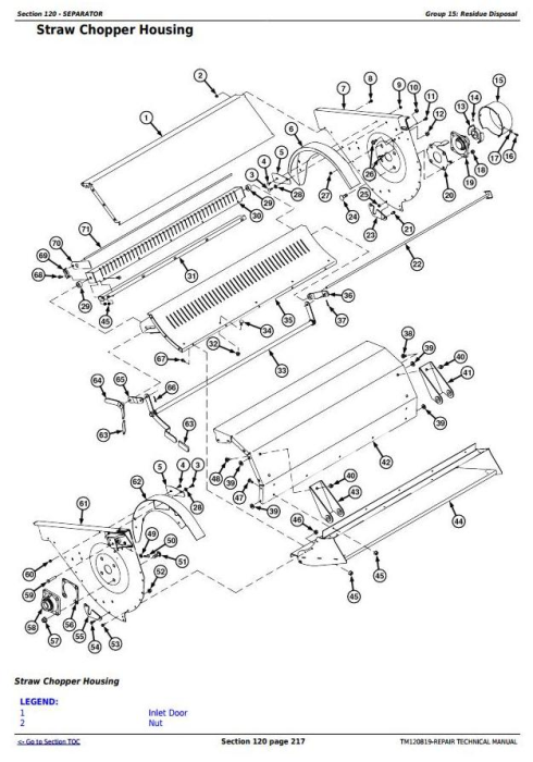 Fourth Additional product image for - John Deere S650, S660, S670, S680, S685, S690 STS Combines Service Repair Technical Manual(TM120819)