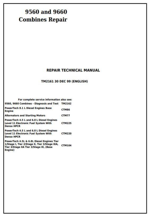 First Additional product image for - John Deere 9560 and 9660 Combines (SN. 705201-) Service Repair Technical Manual (TM2161)