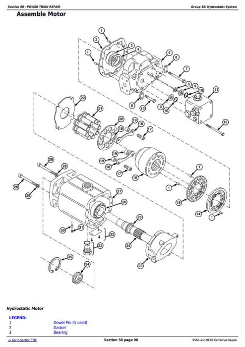 Third Additional product image for - John Deere 9560 and 9660 Combines (SN. 705201-) Service Repair Technical Manual (TM2161)