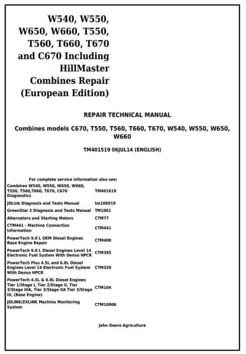 First Additional product image for - John Deere W540, W550, W650, W660, T550, T560, T660, T670, C670 Combines Service Repair Manual (TM401519)