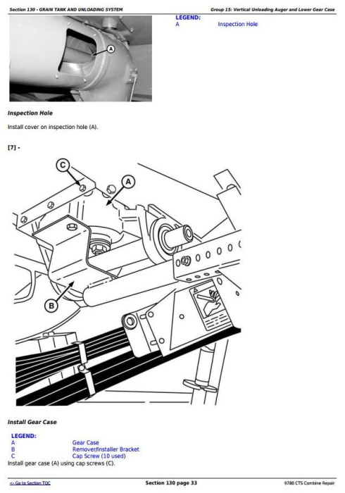 Third Additional product image for - John Deere 9780 CTS Combine (SN. from 072800) Repair Technical Service Manual (tm4712)