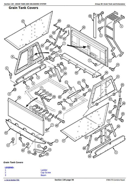 Fourth Additional product image for - John Deere 9780 CTS Combine (SN. from 072800) Repair Technical Service Manual (tm4712)