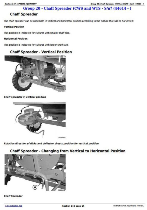 Fourth Additional product image for - John Deere 1450, 1550, 1450CWS, 1550CWS, 1450WTS, 1550WTS Combines Repair Service Manual (tm4714)