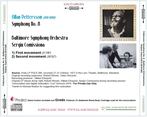 First Additional product image for - Allan Pettersson - Symphony No. 8 - Baltimore Symphony Orchestra - Sergiu Comissiona
