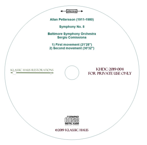 Second Additional product image for - Allan Pettersson - Symphony No. 8 - Baltimore Symphony Orchestra - Sergiu Comissiona