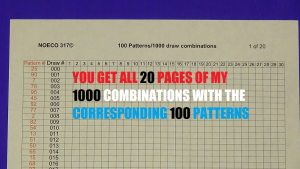 1000 Combinations With Corresponding Pattern Numbers - -Noeco 317© | Documents and Forms | Spreadsheets