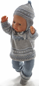dollknittingpatterns 0197d helga - bukse, kortermet genser, kofte, lue skjerf og sokker-(norsk)