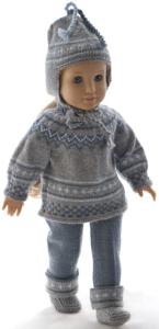 dollknittingpatterns 0197d helga - pantalon, pull à manches courtes, pull, bonnet et chaussettes-(francais)