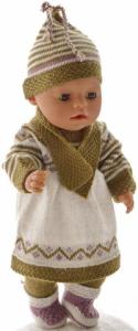 dollknittingpatterns 0198d rikke - kjole, strømpebukse, lue, skjerf og sokker-(norsk)