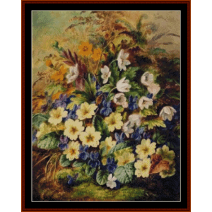 primrose and violets - durer cross stitch pattern by cross stitch collectibles