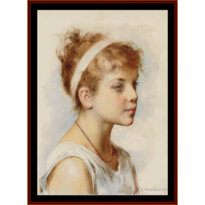 girl with headband - harlamoff cross stitch pattern by cross stitch collectibles