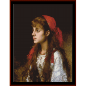 a russian beauty - harlamoff cross stitch pattern by cross stitch collectibles